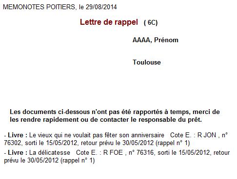 Bcdi Lettre De Rappel